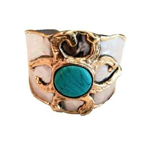 Jewelry - NWT - BOHO SILVER CUFF BRACELET w/TURQUOISE  STONE